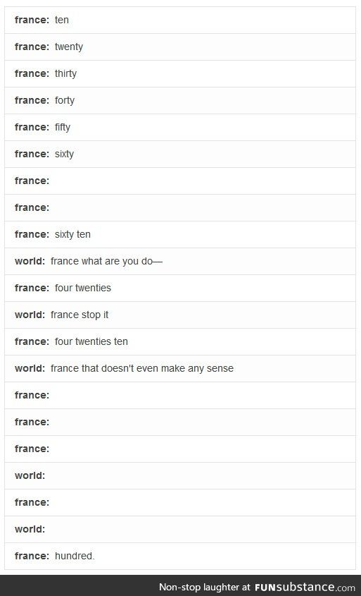 Why France? Honestly? I still have a hard time with French numbers and just stop at 60. xD