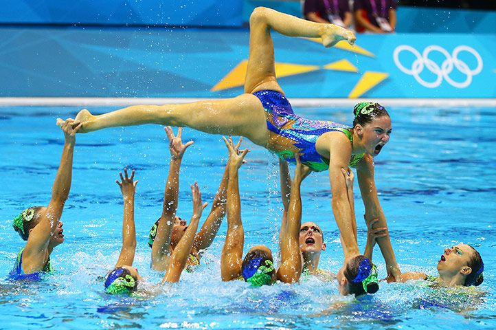 Team GB, making their Olympic debut with a Peter Pan theme, earned sixth place, their pre-Games target. Jennifer Knobbs said: 'We really felt like a team underwater. Hearing the crowd cheering, supporting us all the way, gives you a real boost.'