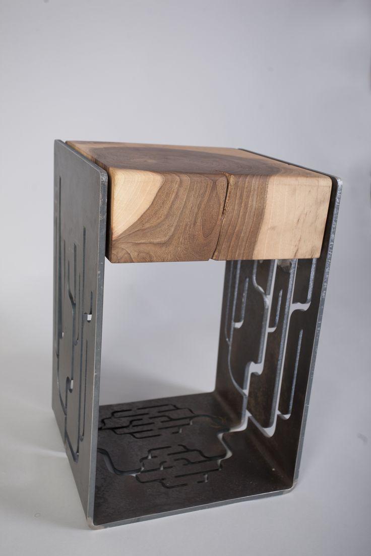 Branch Stool - 8 mm thick laser cut steel and walnut seat @ Silva Artis