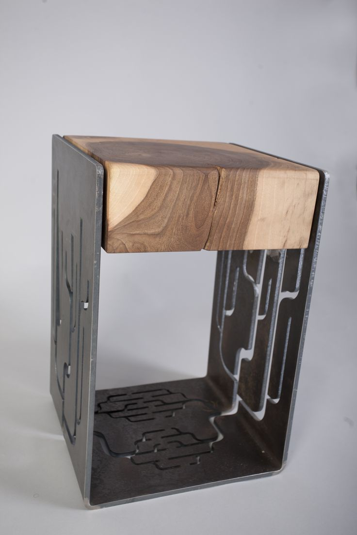 Branch Stool - 8 mm thick laser cut steel and walnut seat