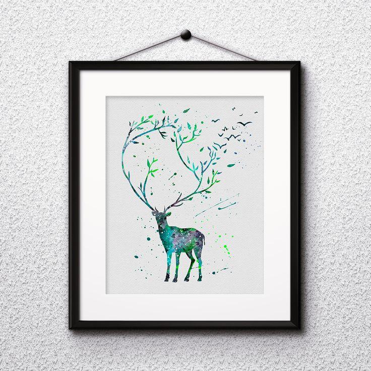 Watercolor painting Deer animals art poster Printable Home Wall decor print gift