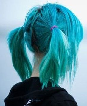 Blue Hair in Pigtails♡ #Hairstyle #Dyed_Hair #Beauty