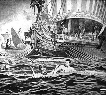 Xerxes sees his fleet being smashed by the Greeks at the battle of Salamis.