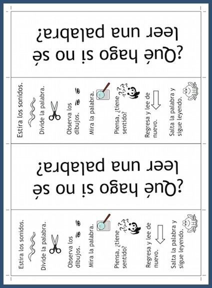 This printable bookmark has strategies for kids learning to read in Spanish.