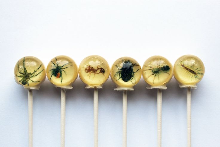 Insects spiders flies centipedes Halloween edible images ball style hard candy lollipop $10.50 via Etsy. // pinned by @welkerpatrick