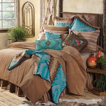 Western turquoise bedding | Stylish Western Home Decorating Look at arched wall art to left of bed. Make 4 & use as headboard