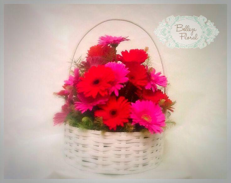 Arreglo Floral con Gerberas rojas y fiushas en canasta blanca ideal para un cumpleaños! Entrega a domicilio en el centro y sur del DF