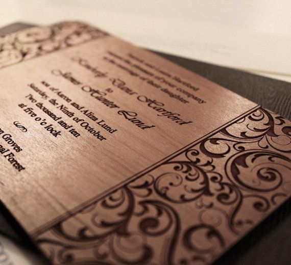 Wedding Invitations  Laser Engraved Wood by CristysStudio on Etsy, $39.99 per dozen.