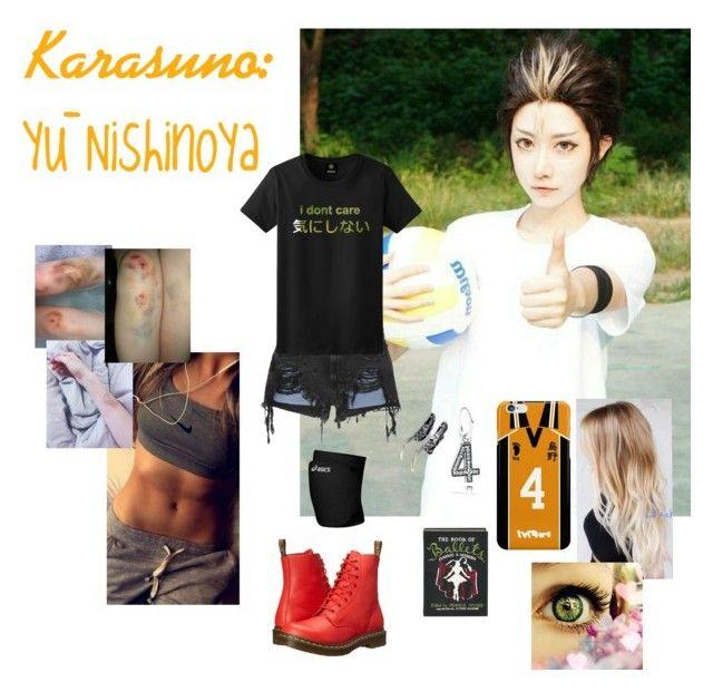 Haikyuu/Karasuno:Yū Nishinoya by erenshi03 on Polyvore featuring polyvore Alexander Wang Dr. Martens Olympia Le-Tan Pandora Eilisain Jewelry Asics fashion style clothing