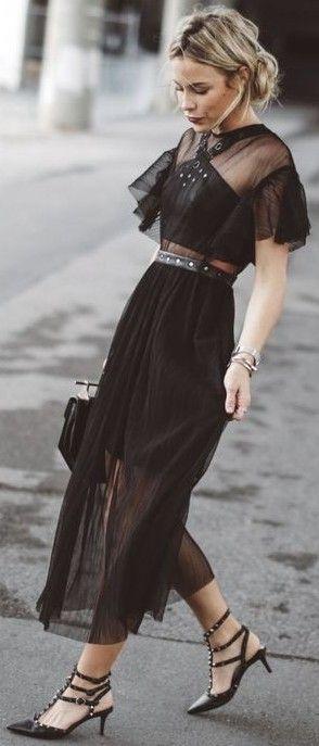 #summer #boho #chic #style | Black Maxi Dress