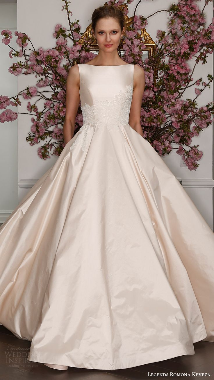 legends romona keveza bridal spring 2017 sleeveless bateau neck silk shantung taffetta ball gown wedding dress (l7129) mv blush color pocket