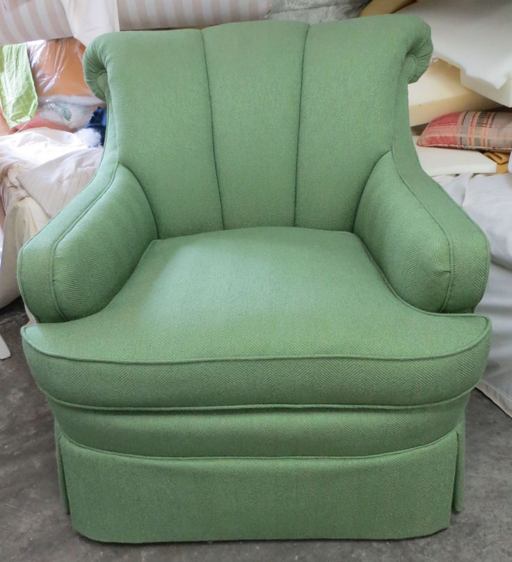 TRS Channel Back Chair In High End Green Herringbone Linen Bland   Totally  Refurbished By WydevenDesigns
