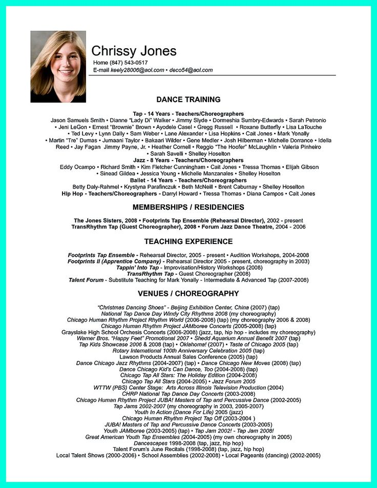 sample audition resume