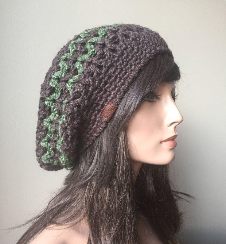 Crochet Slouchy hat, mesh dread tam, Brown hat, Green hat, Eco friendly, Hemp, Wool, hipster hat, natural fiber,