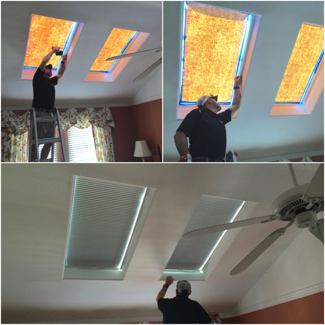 ASAP Blinds | One good solution for skylights is honeycomb shades, as shown in this before & after shot.