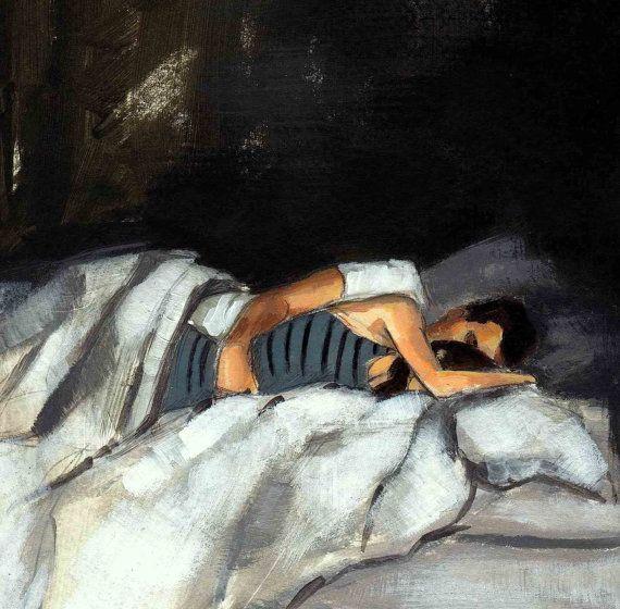 Clara Elsaesser Striped Sleeper 8 x 10 art print // tastesorangey on Etsy