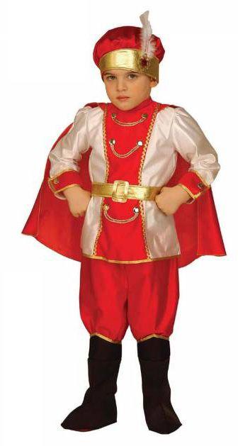 Kostuum van een oosterse prins voor jongens: Dit kostuum van een oosterse prins voor jongens bestaat uit een bovenstuk versierd met goud en een cape en een elastische broek met geïntegreerde overlaarzen. Het pak omvat ook een gouden riem en...
