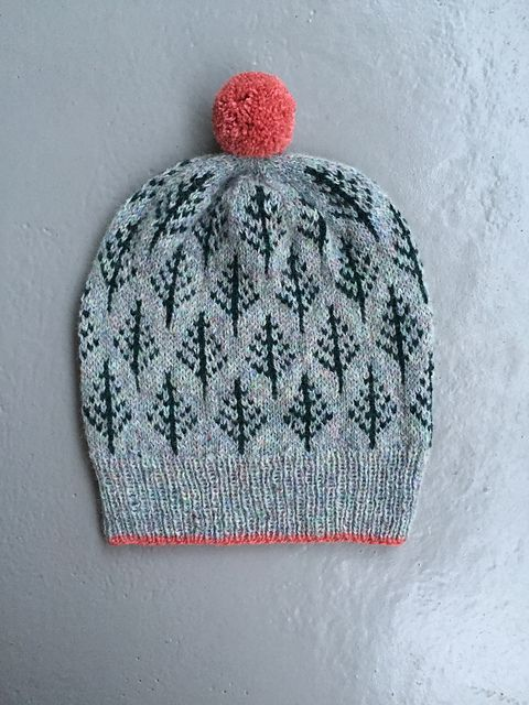 Love this fair isle design with a bright accent. Hand knits. Knitted hats. Colourwork