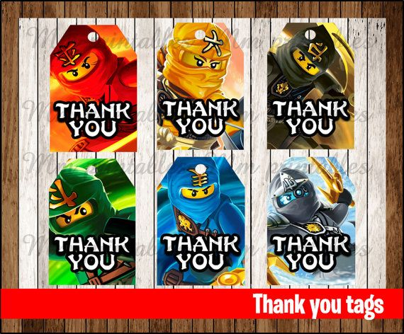 80% OFF SALE Ninjago Thank you Tags instant by ...