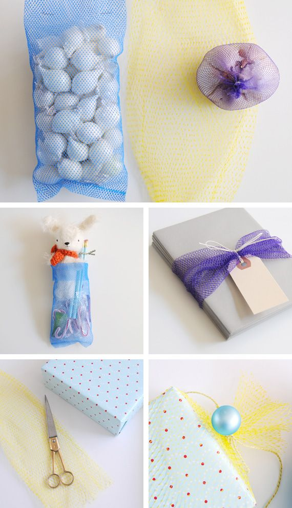 upcycle produce bags for gift wrap cool idea