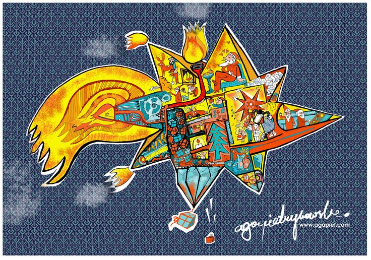 #Minuta przed B.N #Christmas #illustration #star #Santa Claus #Spaceship #Statek kosmiczny