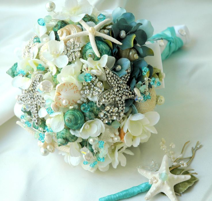 Sea Shell Bridal Bouquet Wedding,Tiffany Blue Bridal Brooch Bouquet, Wedding Accessories, Brooch Bouquet. $300.00, via Etsy.