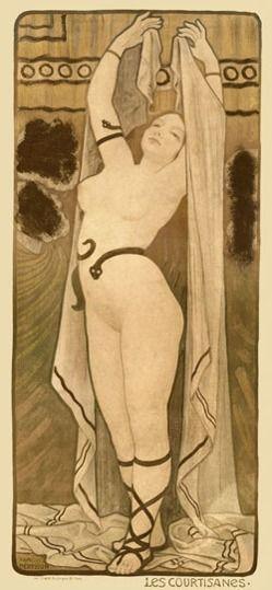 """""""Courtesan"""" by Paul Berthon. c. 1900. (http://www.postercorner.com/Courtesan-Reproduction-Vintage-Poster-Print-p/00796.htm)"""