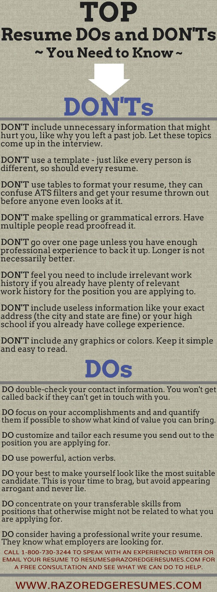 Resume do's and don'ts. For more job search tips: http://www.razoredgeresumes.com/jobsearch_blog/how-interview-savvy-are-you