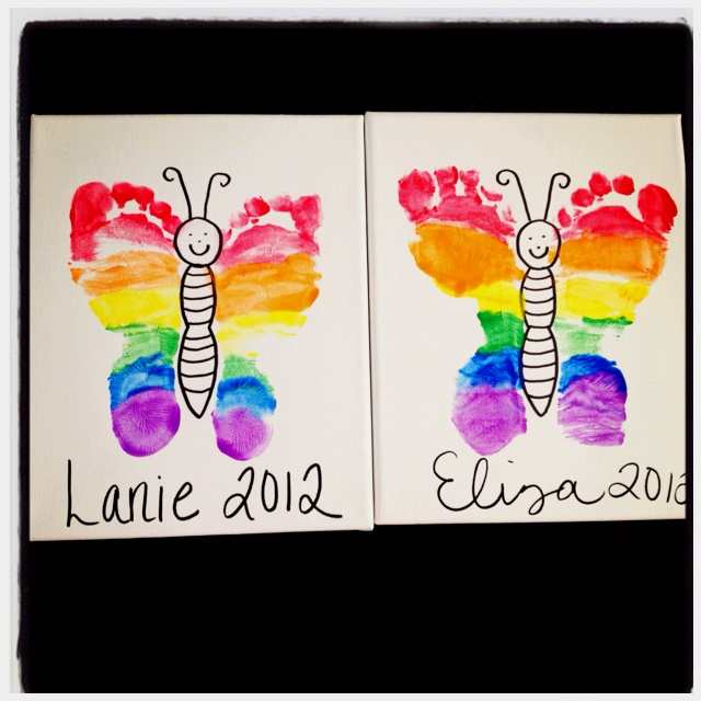 Rainbow footprint butterfly. Gonna do this with my kiddos :)