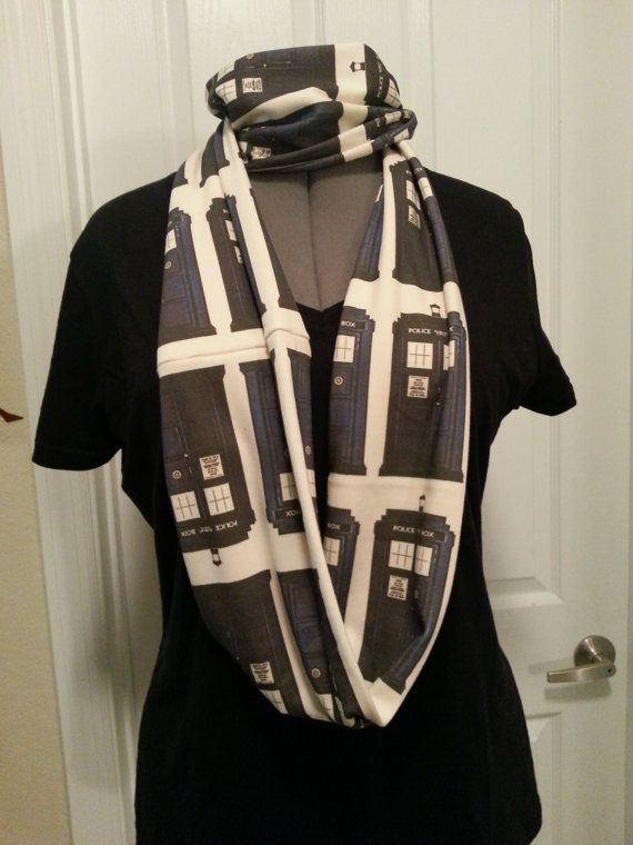 SALE  Police Call Box Infinity knit scarf  by NerdAlertCreations, $30.00