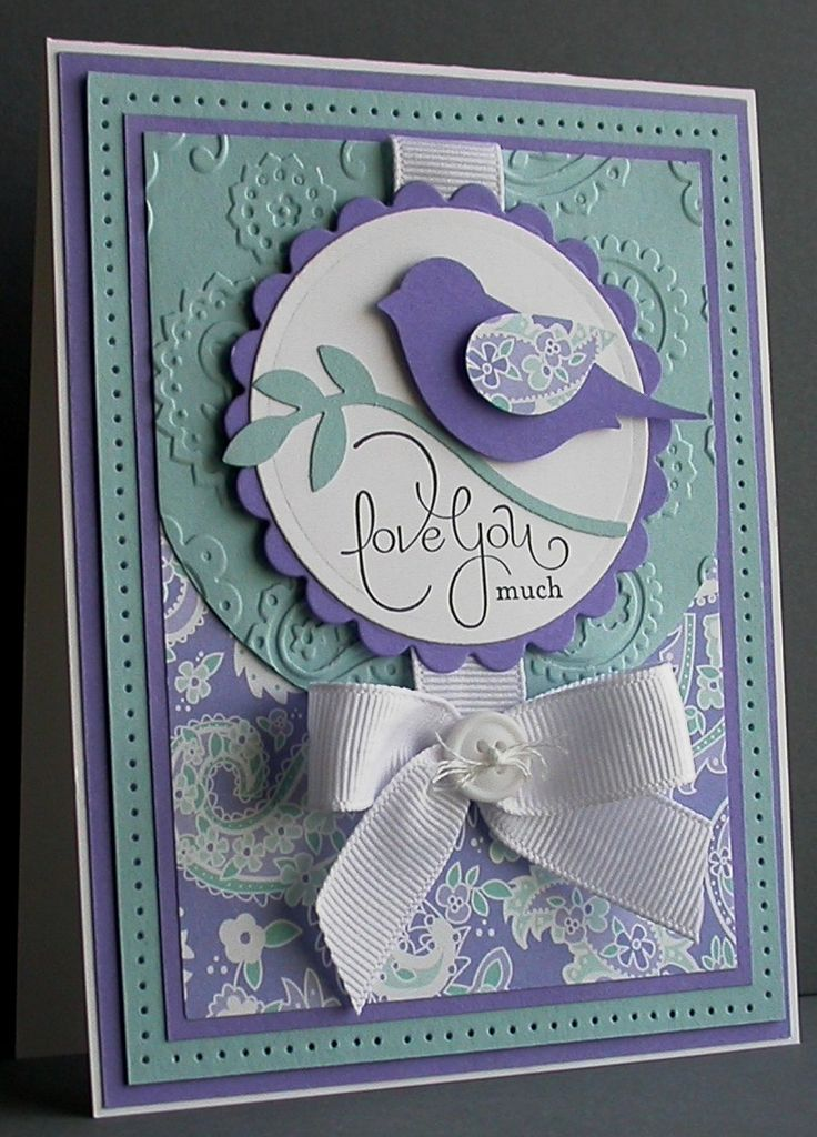 handcrafted greeting card ... two step punched bird focal point ... gorgeous color combo of dusty aqua and lavender ... great use of bow ... matted layers ... great card! ... Stampin' Up!