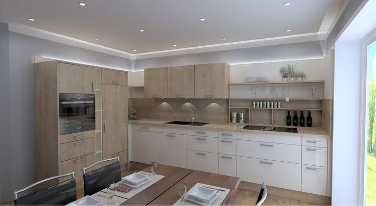 L-Küche mit hochwertigen Internetfähigen (HomeConnect) Bosch Einbaugeräten (Muldenlüfter, Backofen mit Mikrowelle und Pyrolyse). Die Planung besticht durch ein stimmiges Lichtkonzept sowie klarer Linienführung und einem Kochcenter im Bereich des Bosch Muldenlüfter. #Bosch #kleineküche #Küche #Design #Licht #Beleuchtung #LED #modern #holz #magnolie #Lküche