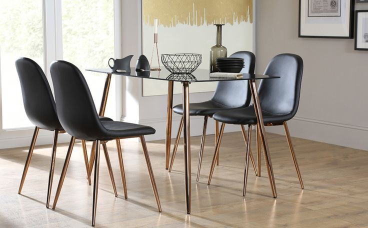 <p>Let it shine! This stylish but sturdy dining set is all about the gloss. The black tempered glass of the retangular table is beautifully set off by a smart set of 4 chairs with sleek leather upholstery. With copper legs for a retro-modern finishing touch.</p>