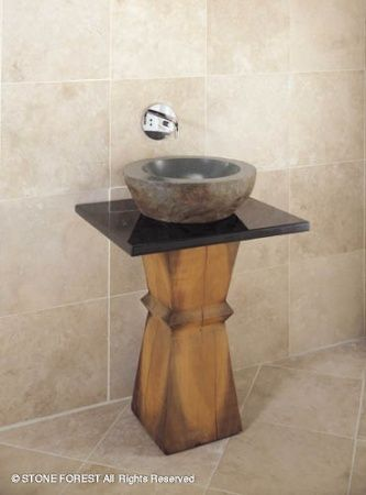 Stone Forest Vessel Wood Base. Pedestal SinkSmall ...