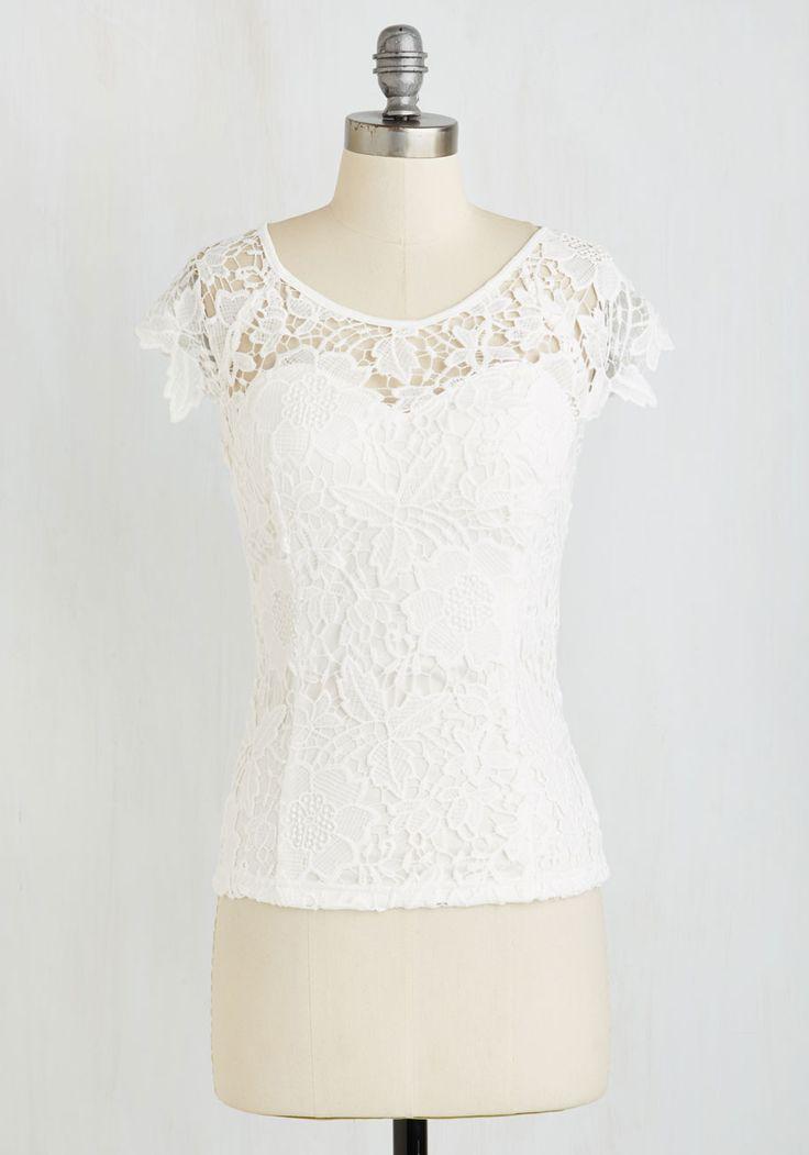 Crochet I Do Top - Mid-length, White, Solid, Crochet, Wedding, Bride, Short Sleeves, Woven, Better