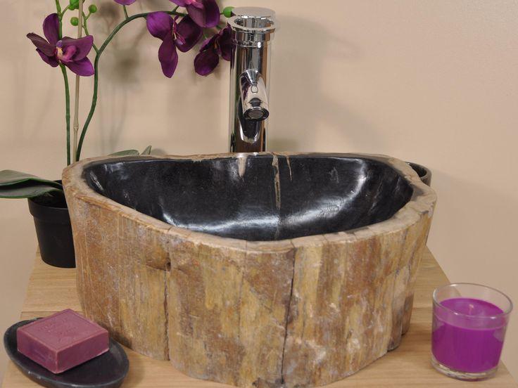 Les 25 meilleures id es de la cat gorie bois p trifi sur for Vasque exterieur pierre