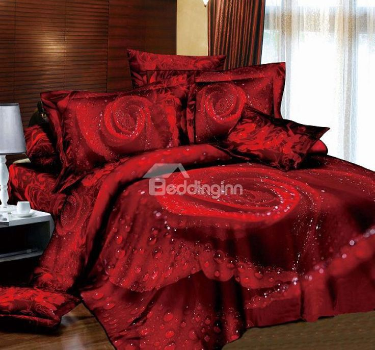 3d dewy red rose printed cotton 4piece bedding setsduvet covers