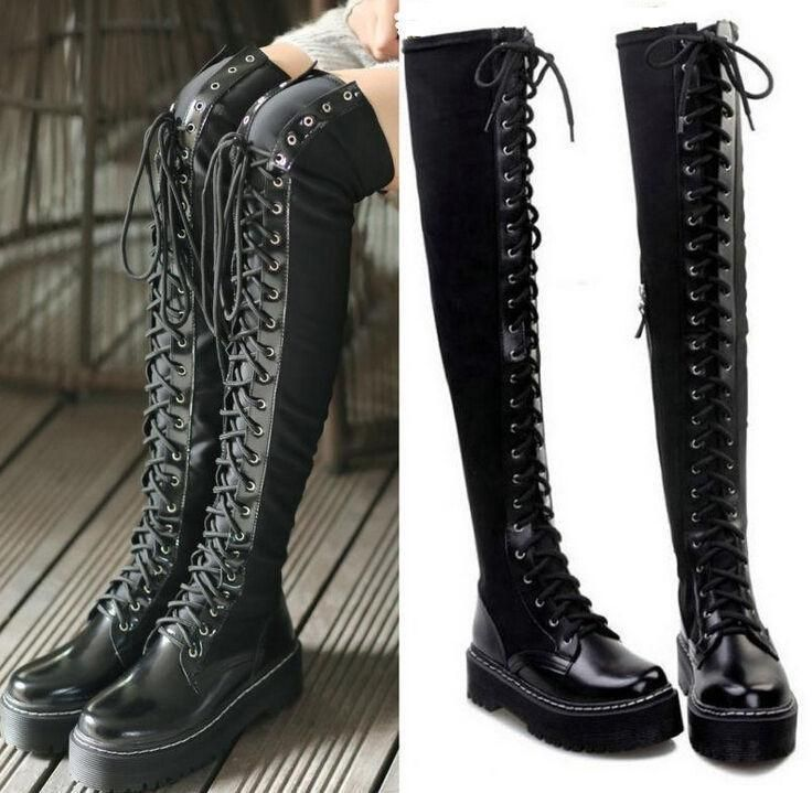 Chic Womens Gothic Punk Slouch Combat Boots Over Knee High Leather Lace Up Boots