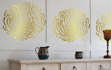 PIN CUSHION PROTEA Flower Wall STENCIL, Reusable DIY Interior Designs