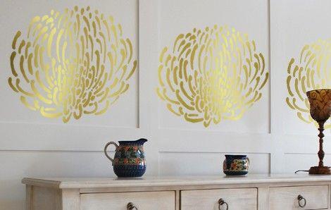 PIN CUSHION PROTEA Flower Wall STENCIL, Reusable DIY Interior Designs