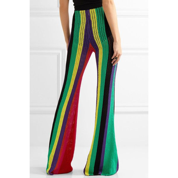 Balmain Striped open-knit flared pants ($1,115) ❤ liked on Polyvore featuring pants, pull on pants, colorful pants, white flared trousers, rayon pants and flare pants