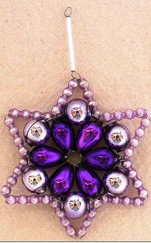 Shades of lavender Czech blown glass bead Christmas ornament