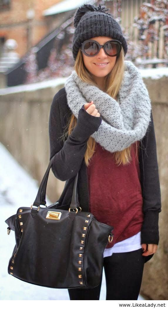 Dark cardigan, grey scarf, woollen cap with skinnies and handbag