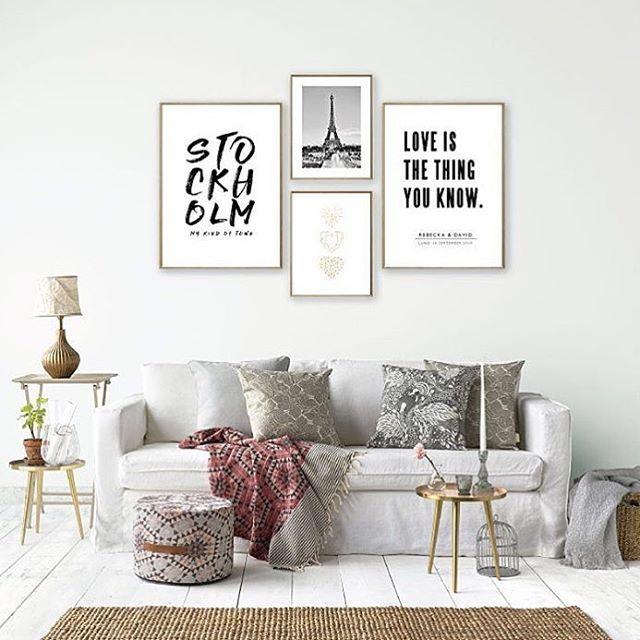 Funderar på en tavelvägg likt denna, antingen ovanför min soffa eller i sovrummet. Älskar printsen från @petitecharliesthlm!
