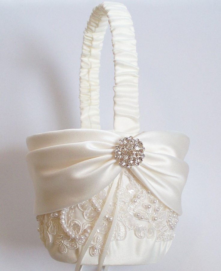 Flowergirl Ivory Basket with Beaded Alencon Lace by JLWeddings