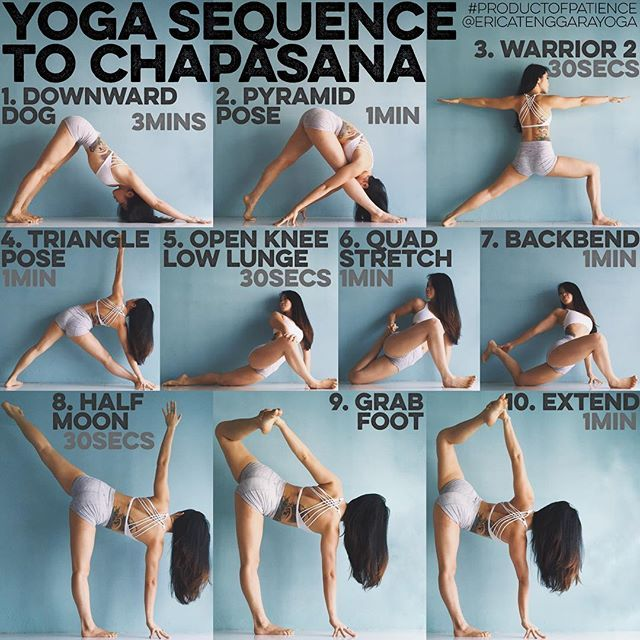 YOGA SEQUENCE TO CHAPASANA: Warm up: Sun Salutation A & B 5x each, Google if unsure 1. DOWNWARD DOG I start most of my sequences with it because everything starts from your foundation, I find there is a correlation to down dog with every pose hence its importance - 2. PARSVOTANASA Work on getting both legs straight with hips squared before bringing your belly over the thigh, the back heel up is not traditional but just a nice variation I find - 3. WARRIOR 2 Do this with your back against…