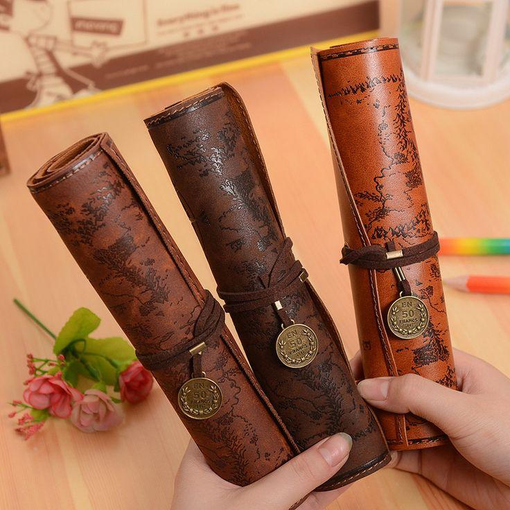 Hot de cuero de La Vendimia caja de lápices para la escuela de las muchachas bolsa de lápiz, lápiz caso útiles escolares lápiz casos