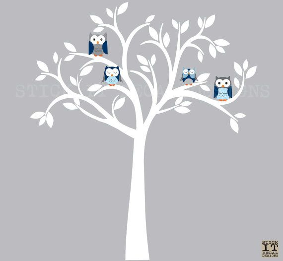 Owl Decal Owl Tree Wall Sticker Blue Owl By StickItDecalDesigns, $88.00