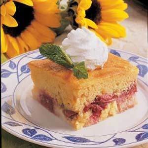Rhubarb Custard Cake Recipe -Rhubarb thrives in my northern garden and is one of the few crops the pesky moose don't bother! Of all the rhubarb desserts I've tried, this pudding cake is my No. 1 choice. It has old-fashioned appeal but is so simple to prepare.  -Evelyn Gebhardt, Kasilof, Alaska