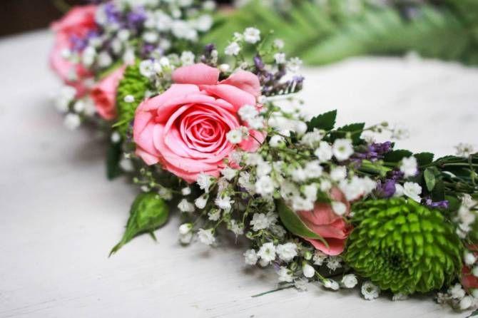 Blomsterkrans med rosa rosor och brudslöja. Styling Skilladflorals.com Wreath, babys breath and roses
